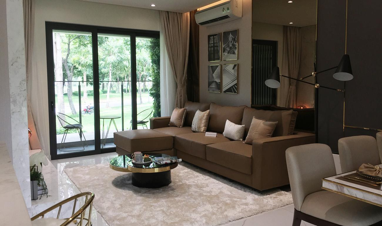 nhà mẫu căn 3 phòng ngủ chung cư celadon - phòng khách