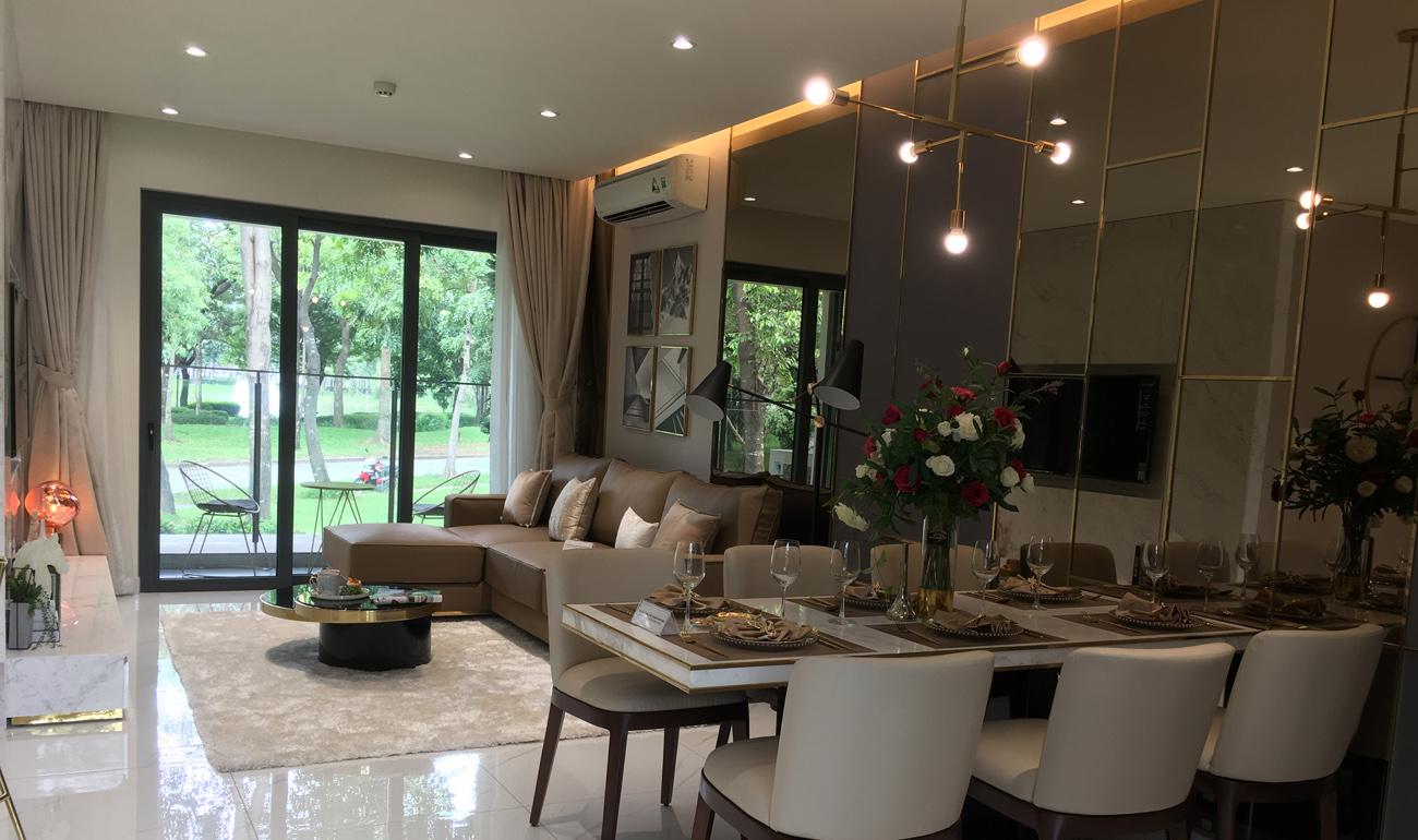 phòng khách & bàn ăn căn hộ 3 phòng ngủ diamond celadon